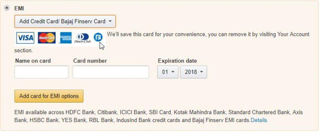 buy oneplus 5T on EMI with bajaj fin card